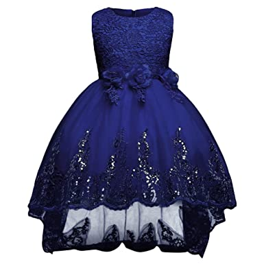 GUOCU Prinzessin Kleid Mädchen Bowknot Brautjungfern Kleid Lange ...