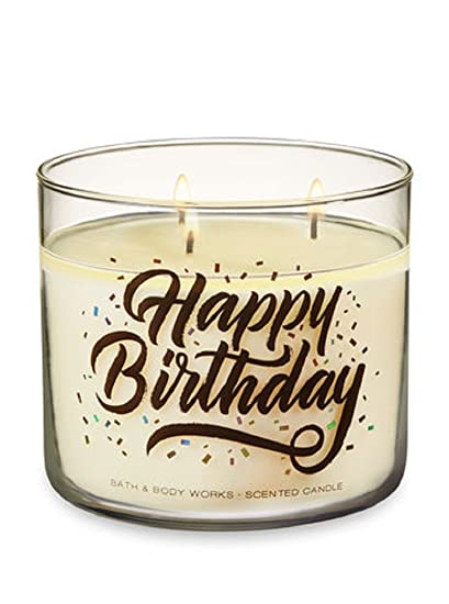 Bath Body Works 3 Wick Happy Birthday Candle In Pink Lemonade Pound Cake