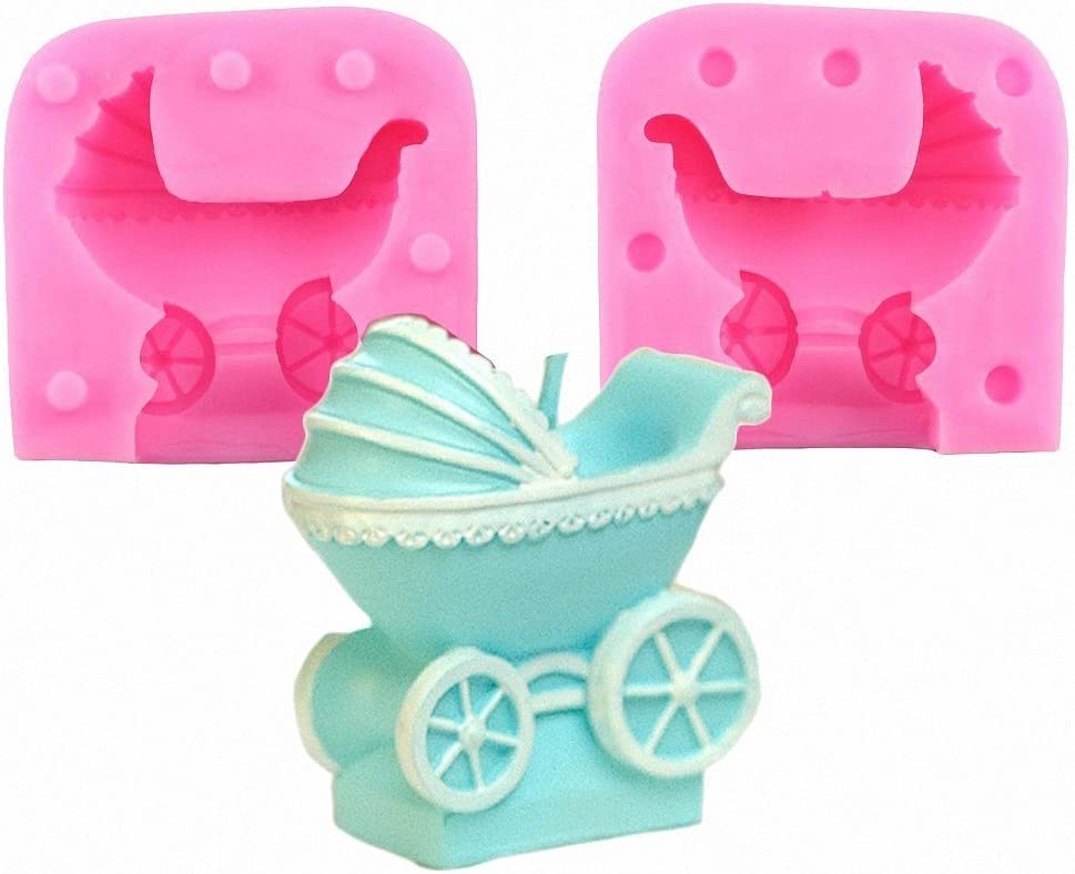 MoldFun 3D Baby Stroller Pram Carriage Baby-car Silicone Mold for Soap Candle Baby Shower Birthday Cake Decorating Fondant Molds Candy Chocolate Gum Paste Moulds