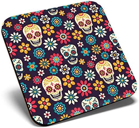 Protezione da tavolo per qualsiasi tipo di tavolo # 8780 Grande sottobicchiere quadrato Fiori di zucchero teschio floreale messicano Qualit/à lucida