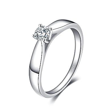 da9e59d70b8da JewelryPalace 0.21ct Magnifique Bague de Fiançailles Femme Alliance Mariage  Anniversaire en Argent Sterling 925 en