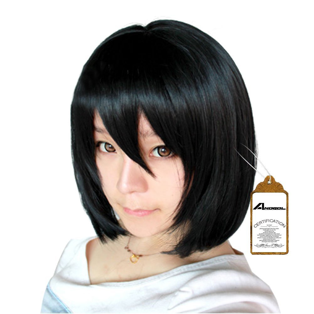 Anogol Hair Cap Black Wig Cosply Short Bob Wigs With Bangs Natural Wavy Wig For Girls