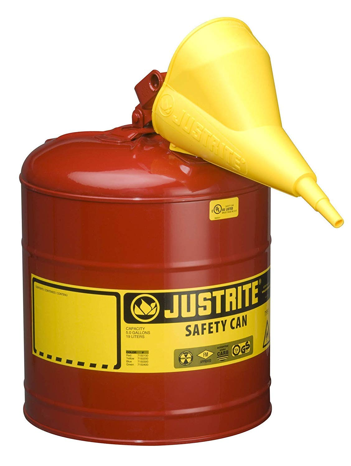 Justrite 11202Y Polyethylene Funnel For Use With The Type I Metal Safety Can .5