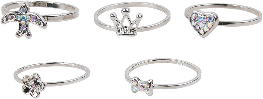 5 Pack – Juego de anillos de nudillos, corazón, con lazo, flor, pájaro, corazón & Corona de grosor juego de anillos ...