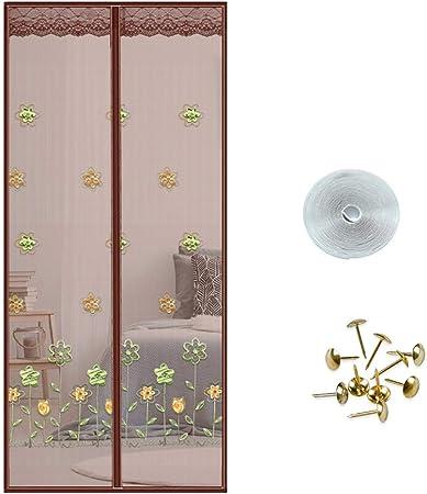CHHBOX Mosquitera Ventana Grande/Tul Mosquitera/Mosquiteras Ventanas Correderas/Mosquitera Terraza/Magnetica Corredera Cortina-DiseñO Tridimensional de Flores,Brown-80x210cm: Amazon.es: Hogar