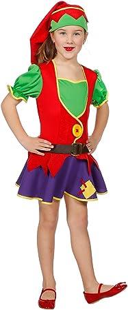 The Fantasy Tailors Disfraz de Enanito para niña, Vestido y Gorro ...