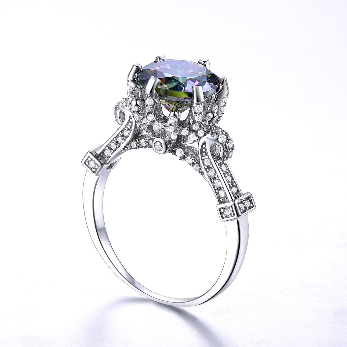Auzeuner Cocktail Ring for Women 925 Sterling Silver Cathedral Band Cubic Zirconia CZ