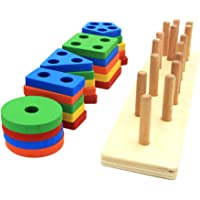 NUOLUX Wooden Shape Sorter Board Geometric Stack Toy Montessori Building Block Toys