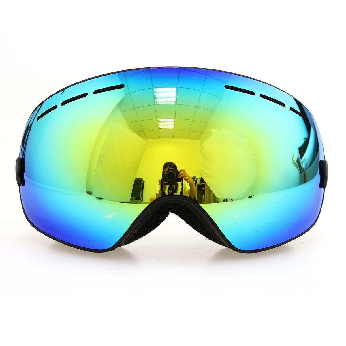フレームブラックゴーグルスキースノーボードゴーグル曇り止めuv400冬スポーツスキーゴーグルセット