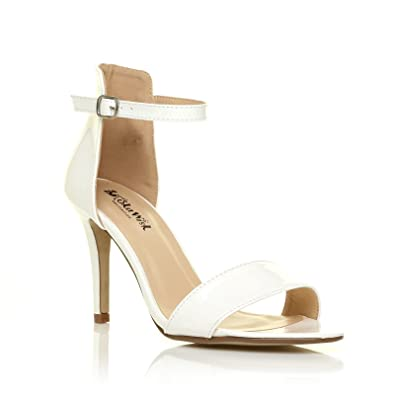 e15dc5d55748 PAM White Patent Ankle Strap Barely There High Heel Sandals Size UK 3 EU 36
