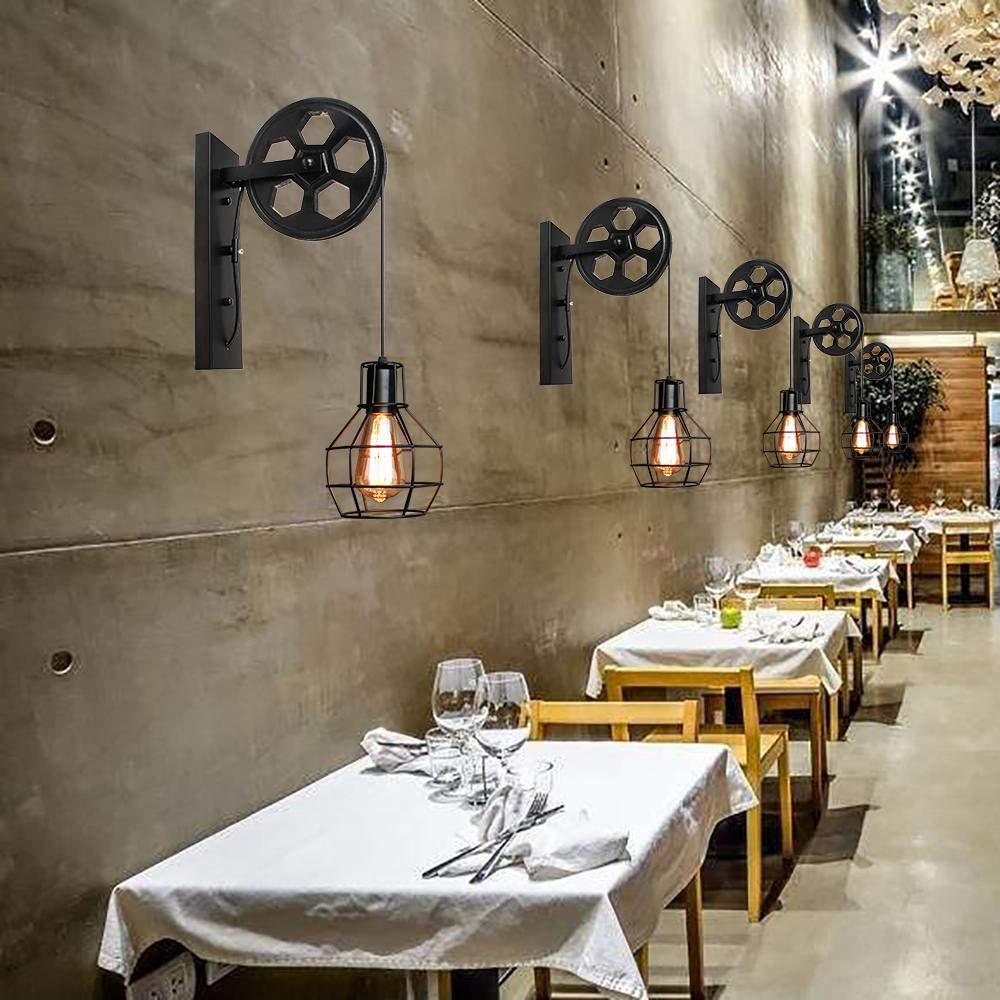 /Óxido rojo L/ámpara de pared Estilo Vintage de Jaula de Hierro Aplique Creativo de Polea Industrial Dise/ño R/ústico para Corredor Cocina Restaurante Hotel Bar