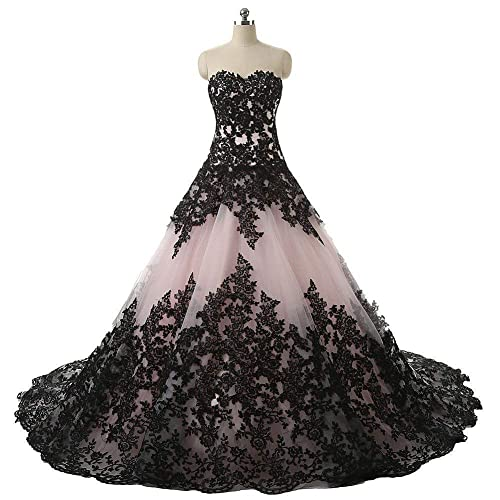 Amazon Pink And Black Applique Lace Quinceanera Ball Prom
