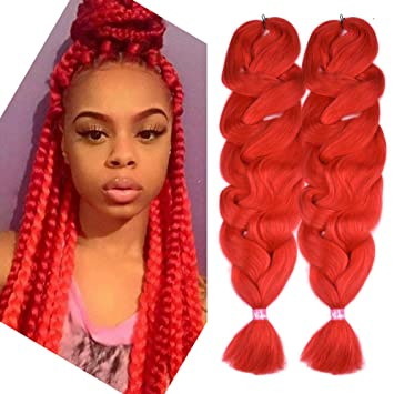 2 Pack Jumbo Braid Red Braiding Hair Extensions Afro Box Braids Crochet  Hair Synthetic Fiber Hair