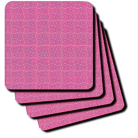 3dRose Pink and White Greek Key Pattern - Ceramic Tile Coasters, Set of 4 (CST_215892_3)