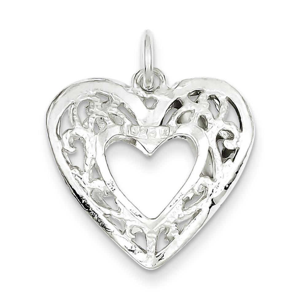 925 Sterling Silver Filigree Heart Charm Pendant 20mm x 21mm