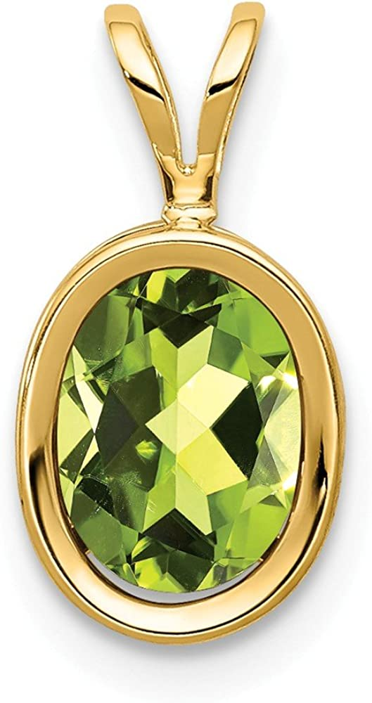 14k Yellow Gold 8x6mm Oval Green Peridot Bezel Pendant Charm Necklace Gemstone Fine Jewelry For Women Gifts For Her 61BaSWFYp6LUL1000_