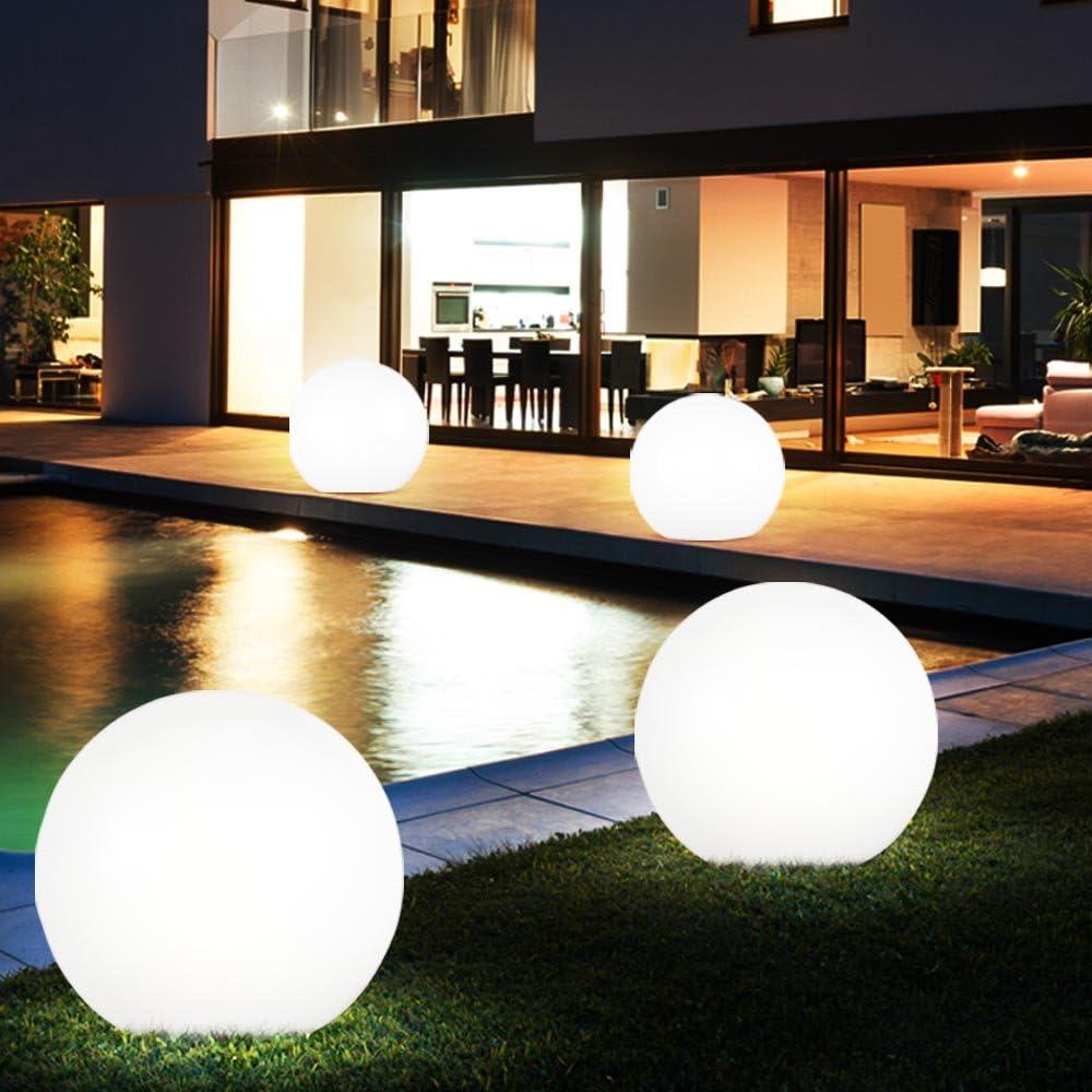6er Set LED Steck Solar Leuchten Außen Beleuchtungen Kugel Stand Lampen Garten Deko Erdspieß Weiß - 6er Set Solarkugeln