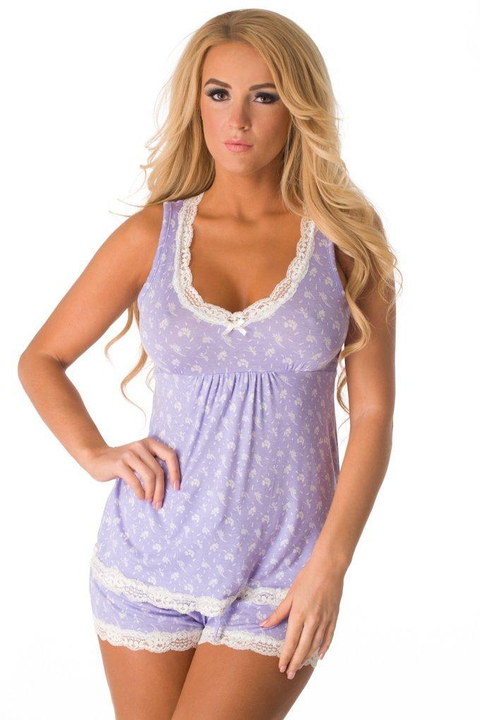 Velvet Kitten Sexy and Sweet Short PJ Set 543188 Large Lavender