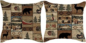 Jimrou Throw Pillow Cover 18x18inches Set of 2 Gifts Wood Cabin Wild Animals Bear Deer Paw Prints Forest Wildlife Cotton Linen Decorative Home Sofa Chair Car Square Throw Pillow Case Cushion Cover