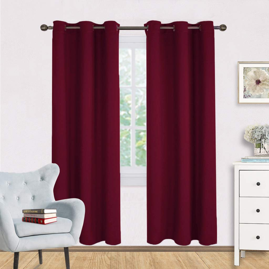 NICETOWN Bedroom Curtain Panels Blackout Draperies, Home Decorations on Christmas Thermal Insulated Solid Grommet Top Blackout Curtains/Drapes for Thanksgiving Gift (One Pair,42 x 72-Inch,Red)