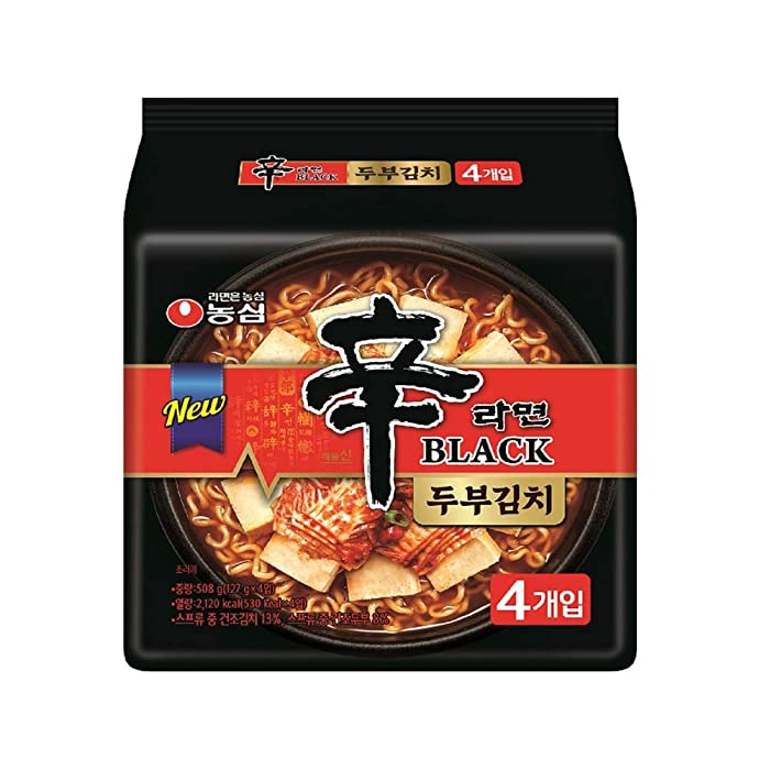 [Nongshim] Shin Ramyun Black Tofu & Kimchi Noodles (Pack of 4) / Hot & Spicy Noodle Soup / Korean food / Korean ramen (overseas direct shipment)