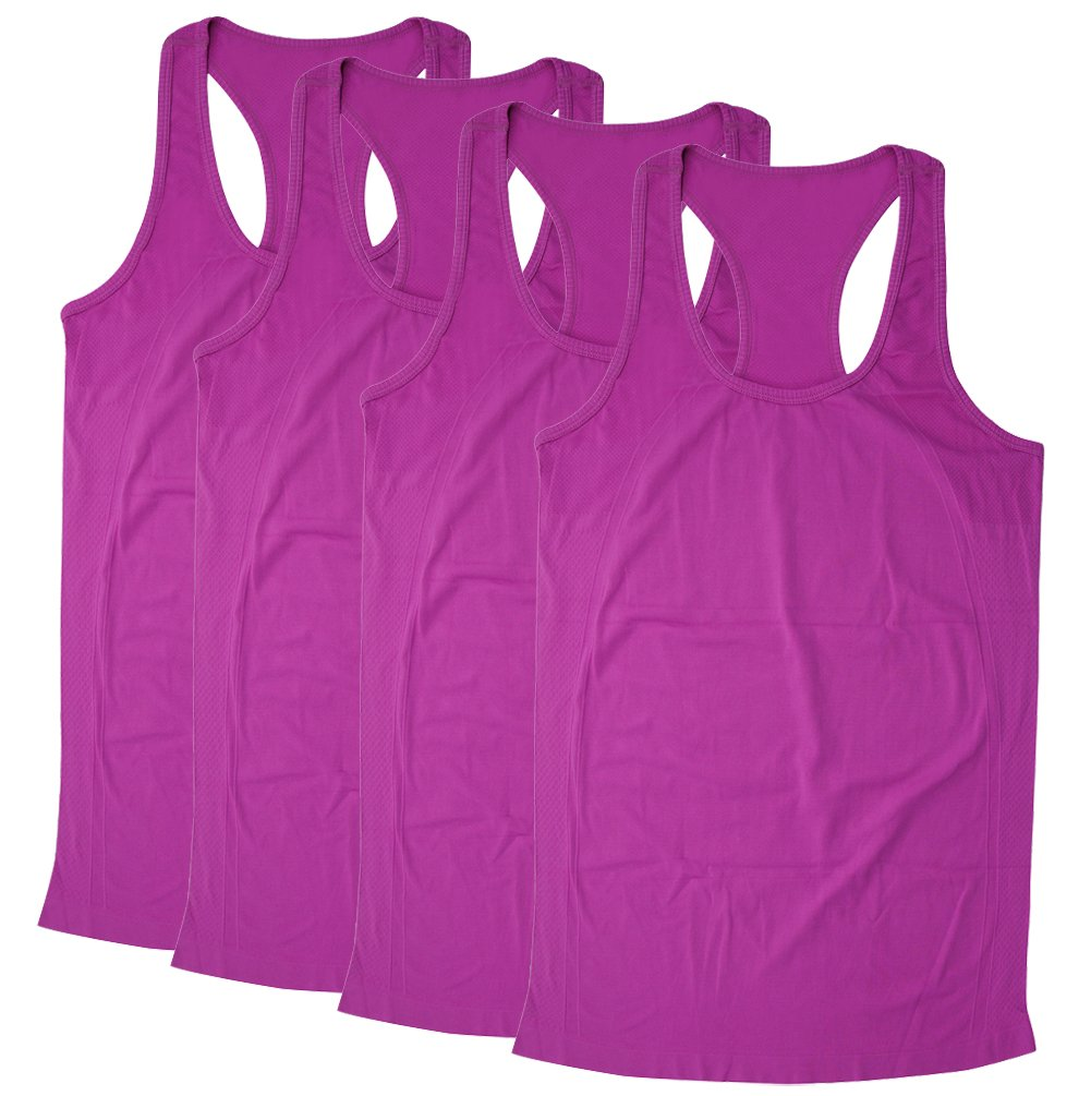 BollyQueena Women's Workout Tanks Tops Active Racerback Tank Tops Purple 4 Packs Small