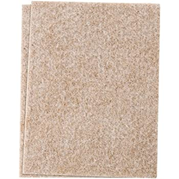 """Self-Stick Furniture Felt Sheet for Hard Surfaces to Cut into Any Shape (2 pack) - Oatmeal,  4-1/2"""" x 6"""" sheets"""