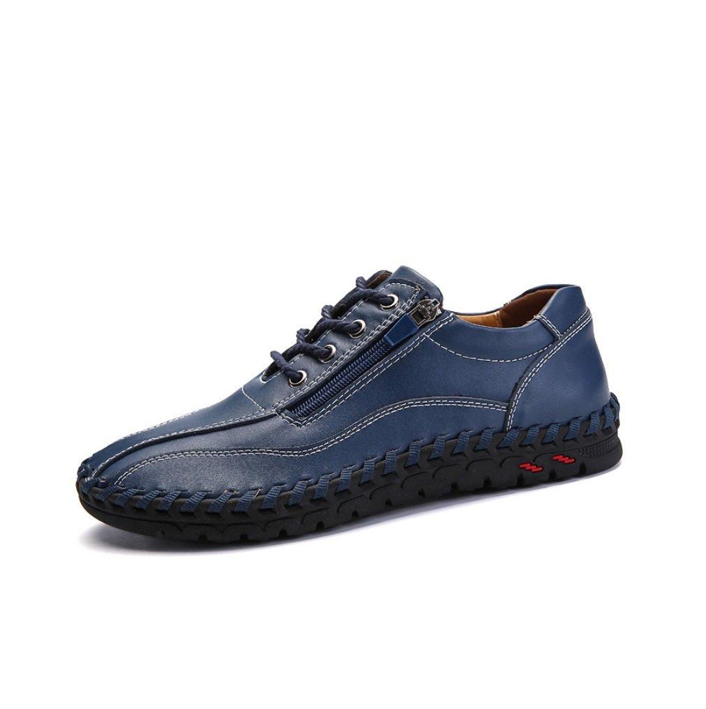 NANXIE Los Zapatos Casuales de la sutura de la Mano del Cuero de la Manera de los nuevos Hombres Grandes del tamaño Cuatro Estaciones XIAOQI (Color : Azul, tamaño : 43) 43|Azul