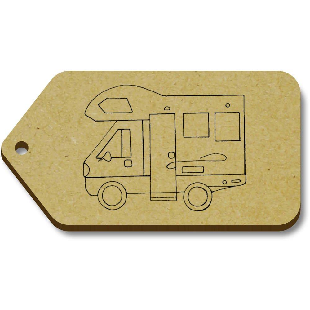 Azeeda 10 x 'Autocaravane' etiquettes de Bagage / Cadeau en Bois (TG00069571)
