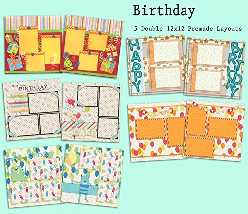 Birthday Scrapbook Set - 5 Double Page Layouts