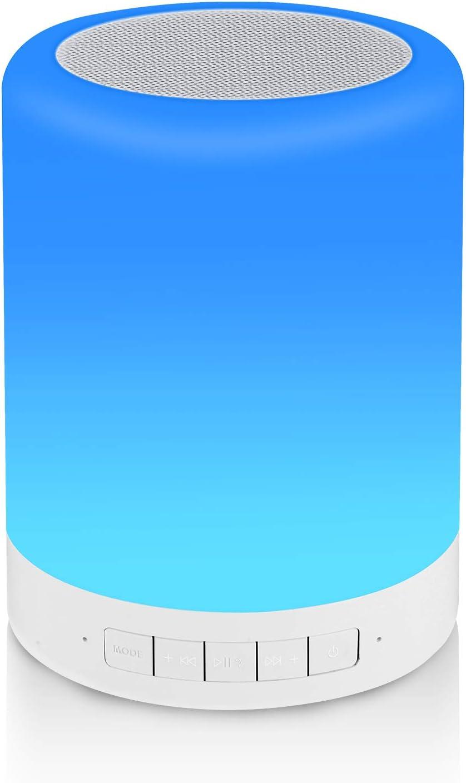 Lámpara de Noche Reawul con Altavoz Bluetooth, Lámpara de Mesa Touch Night Light con RGB 3 Modos Regulables al Tacto y 7 Colores para Cambiar, Regalo para Mujeres Hombres Adolescentes