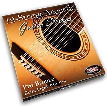 12cuerdas de guitarra acústica de fósforo/bronce con extremos de bola de la marca Adagio