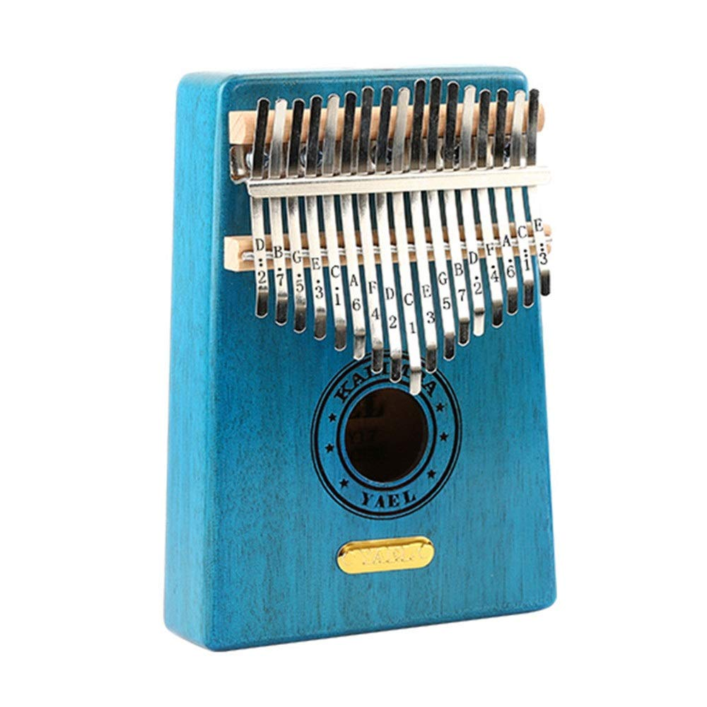 Natural Wood 17 Keys Portable Kalimba Thumb Piano Standard C Tune Finger Piano Metal Engraved Notation Tines with Tuning Hammer Pickup Carry Bag Kids Musical Instrument Gifts by TAESOUW-Musical