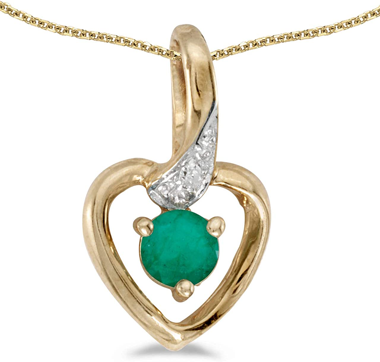 """10k Yellow Gold Round Emerald And Diamond Pendant with 16/"""" Chain"""
