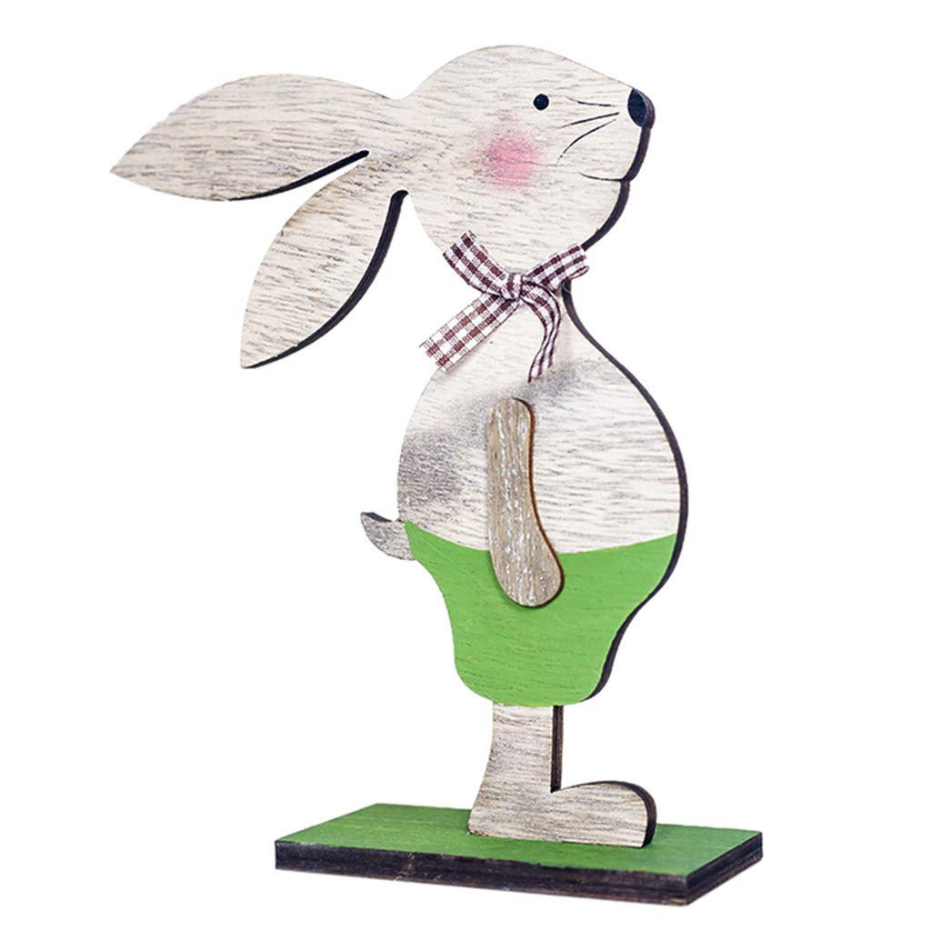 Easter Decorations Wooden Rabbit Shapes Ornaments Craft Gifts (Green)