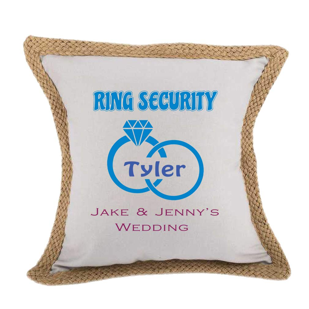 Style In Print Personalized Custom Text Wedding Ring Security Ring Bearer Jute Burlap Pillow Burlap - Gray by Style In Print