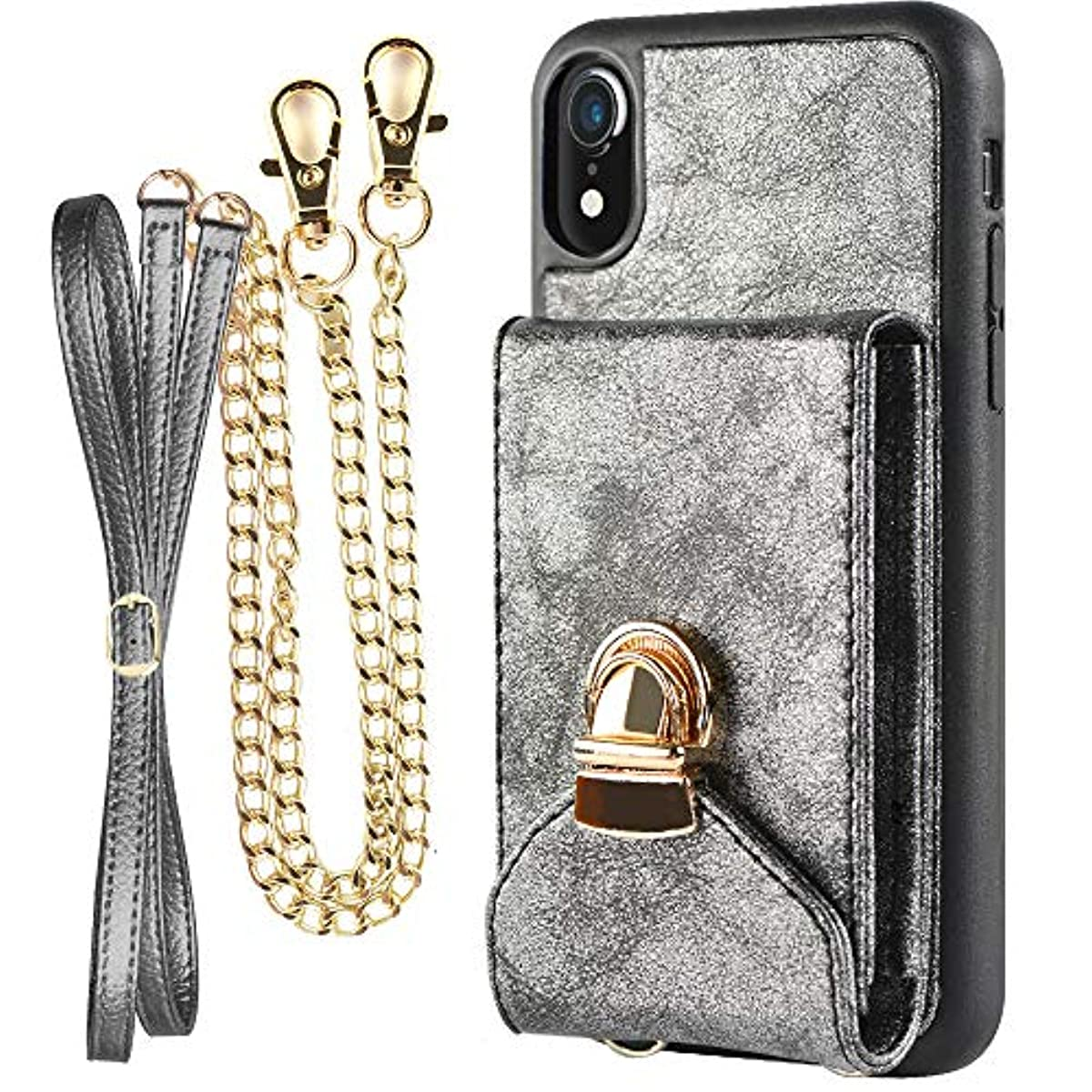 pretty nice 74f15 48e55 Details about Wallet Case For iPhone XR Credit Card Holder Purse Cell Phone  With Strap Black