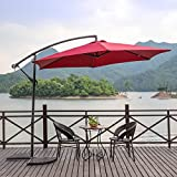 NatureFun 10ft Offset Patio Umbrella Outdoor Burgundy For Sale