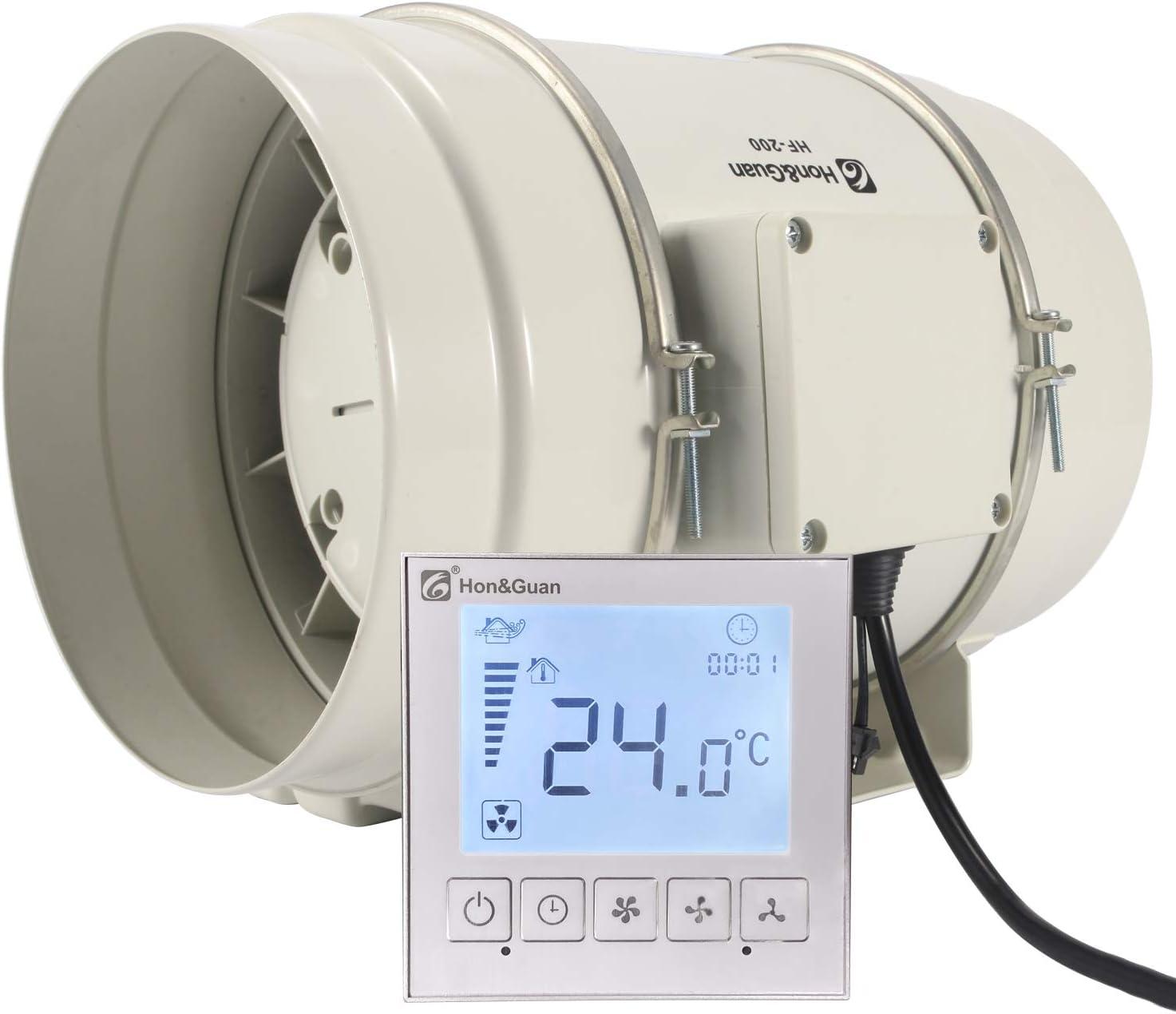 Hon&Guan ø200mm Ventilador Extractor de Aire con Temporizador y Controlador Inteligente, 840m³/h (ø200mm)