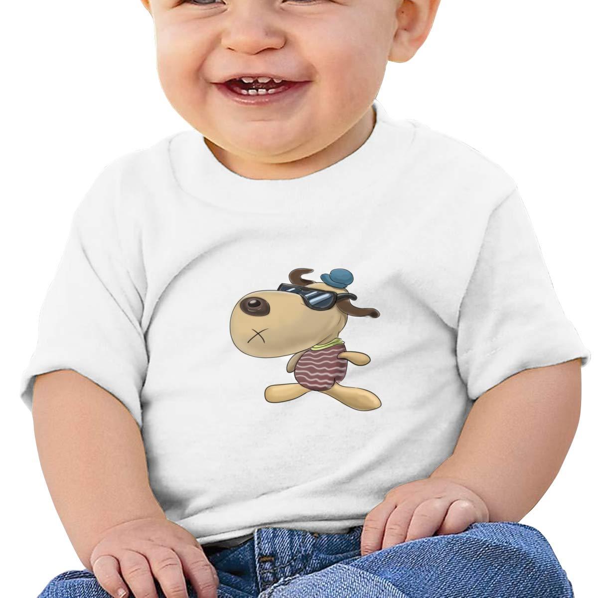 ShenigonCartoon Dog Toddler//Infant Short Sleeve Cotton T Shirts White