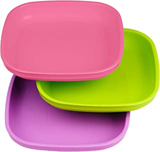 product image for Re-Play Made in USA 3pk Plates with Deep Sides for Baby, Toddler - Bright Pink, Green & Purple (Butterfly)