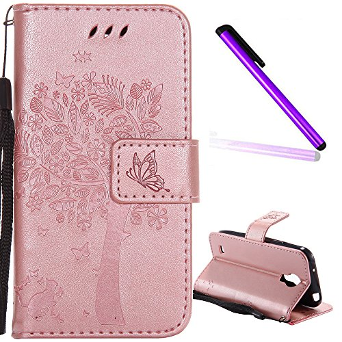 Samsung Galaxy S4 Mini Cover EMAXELER Diamond Embossed Stylish Kickstand Credit Cards Slot Cash Pockets PU Leather Flip Wallet Case For Samsung S4 Mini Wish Tree Rose Golden