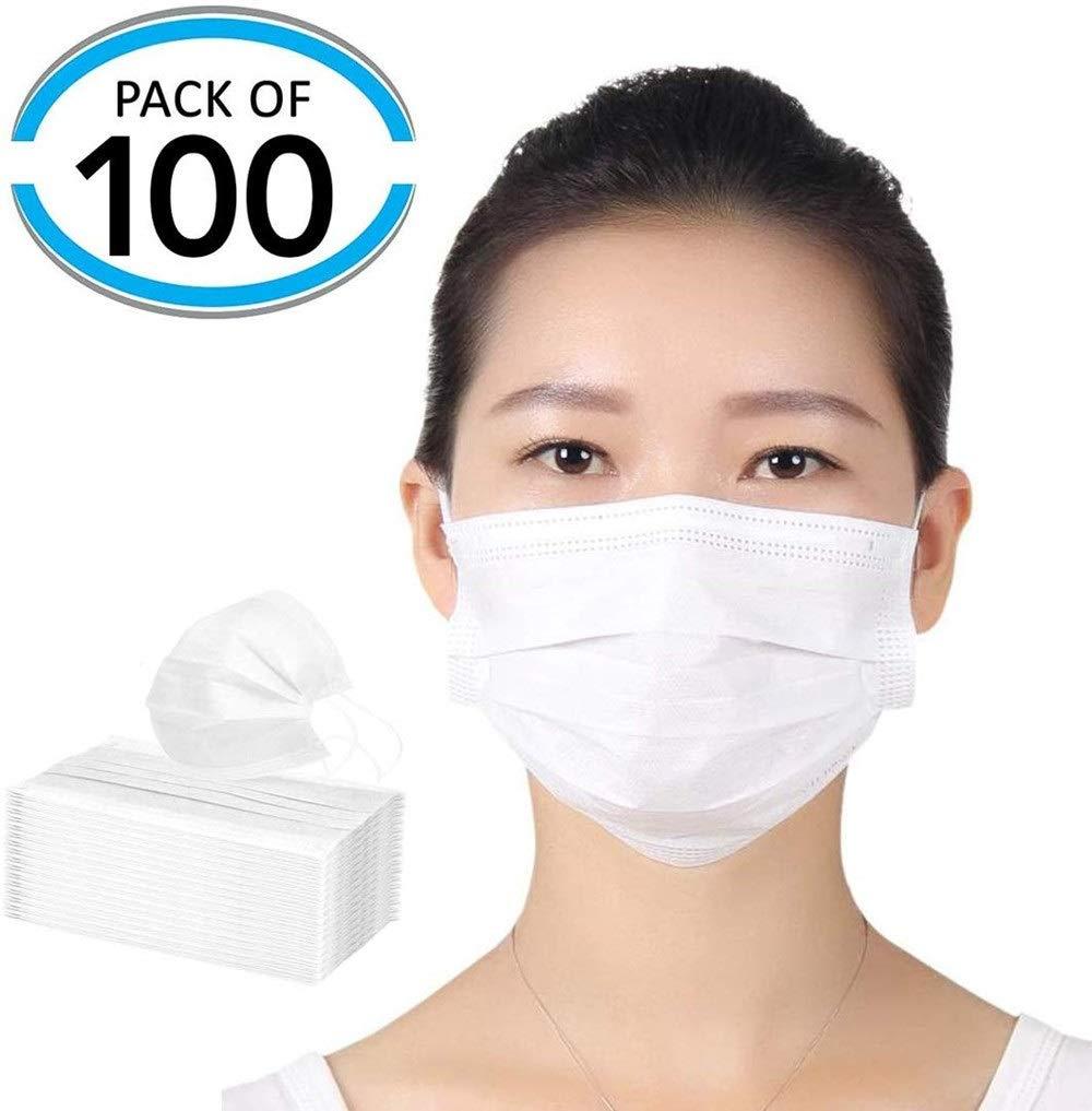 FESSLAND Máscara de Entrenamiento Mascarillas Desechables con elástico Ear Loop - 3 Capas Transpirable y cómodo Protección contra el Polvo (Color al Azar) 100pcs (Color : A
