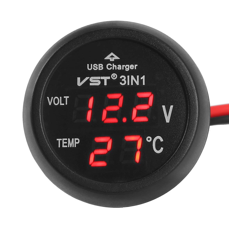JohnJohnsen 3 en 1 LED num/érique USB Chargeur Allume-Cigare Voltm/ètre Thermom/ètre Voiture Moniteur de Batterie Couleur: Rouge