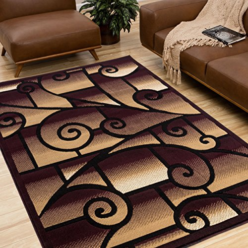 All New Modern Swirl Area Rug Royalty Collection by Rug Deal Plus (5' x 7', Burgundy/Beige)