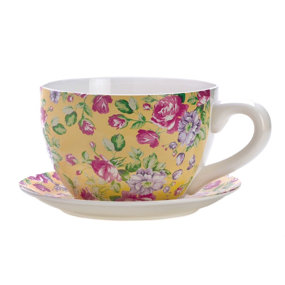 Gifts & Decor China Rose Teacup Saucer Herb Planter Flower Plant Pot ...