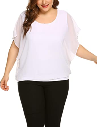 IN'VOLAND Plus Size Women Chiffon Blouse Batwing Sleeve Tops Scoop Neck Tunic Shirts