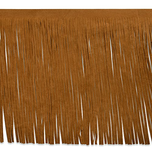 Brown Leather Fringe - Expo IR6827BR-10 10 yd of Ranger Faux Suede Fringe Trim, Brown