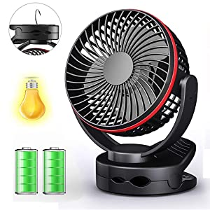 Clip on Fan with Night Light, USB Clip Desk Personal Fan, Table Fans, 4 in 1 Applications,Rechargeable 3600mA Battery Operated Fan, Portable Quiet Fan for Baby Stroller Office Travel -Black