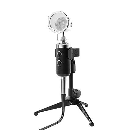 Amazon.com: Micrófono para ordenador, condensador de sonido ...